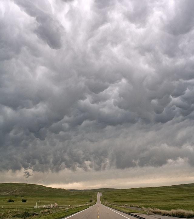 Mammatus over a Sandhills Highway