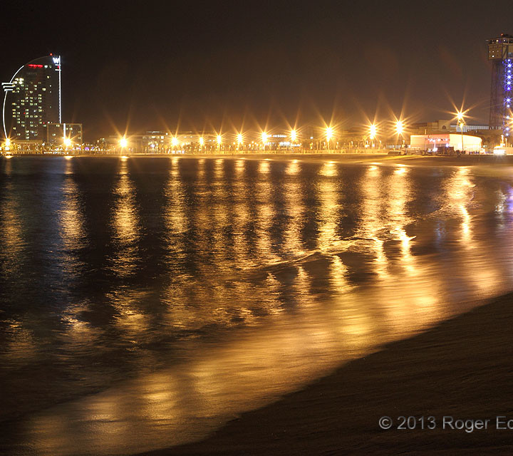 Barcelona Beach at Night