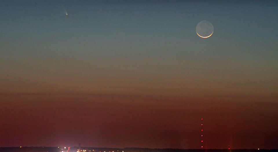 Comet Pan-STARRS, Okie Smoke and a Crescent Moon