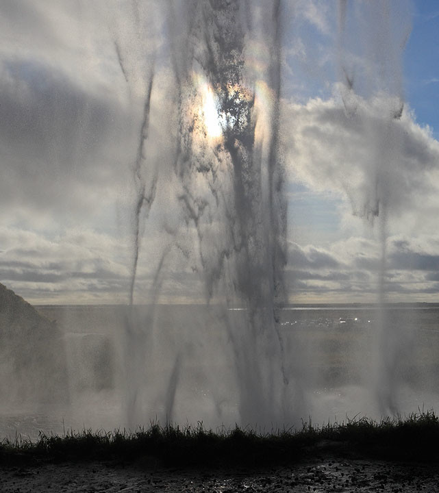 Optical Corona through Icelandic Waterfall