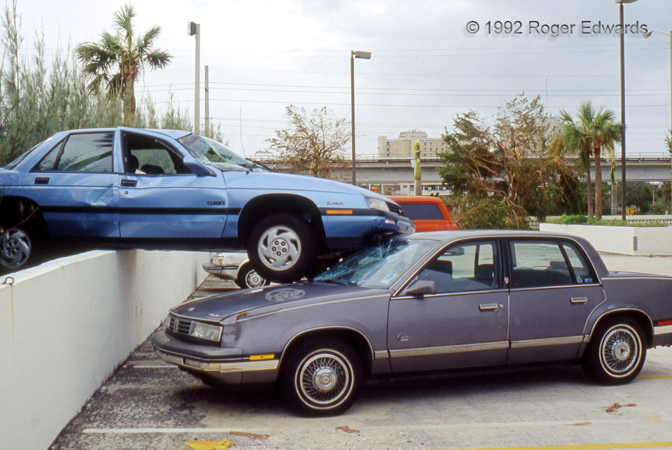 Cars Stacked by Hurricane Andrew