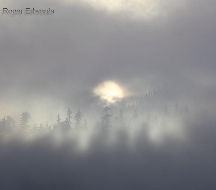 Foggy Mountain Sunset
