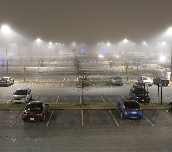 Big, Foggy Parking Lot at Night