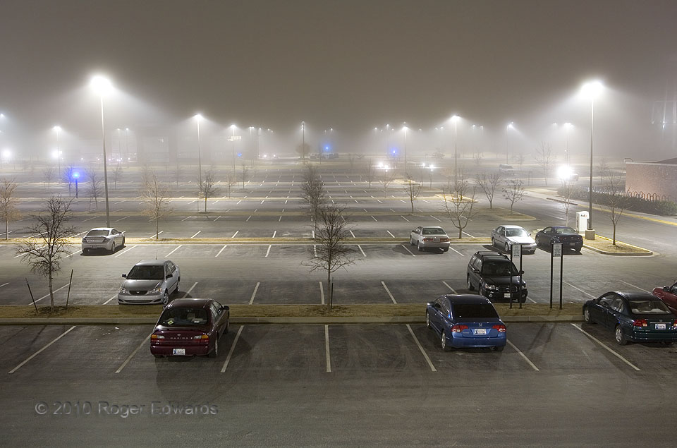 Big, Foggy Parking Lot at Night