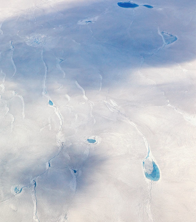 Blue Pools on Greenland Ice