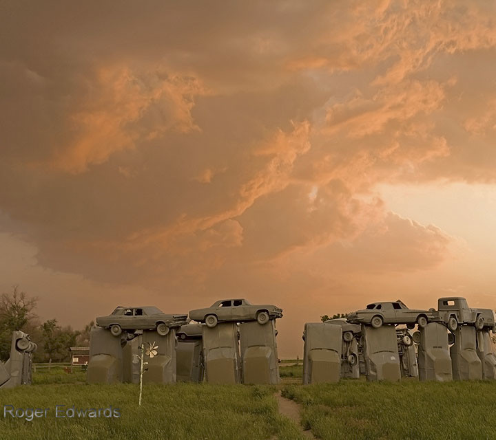 Sunset at Carhenge