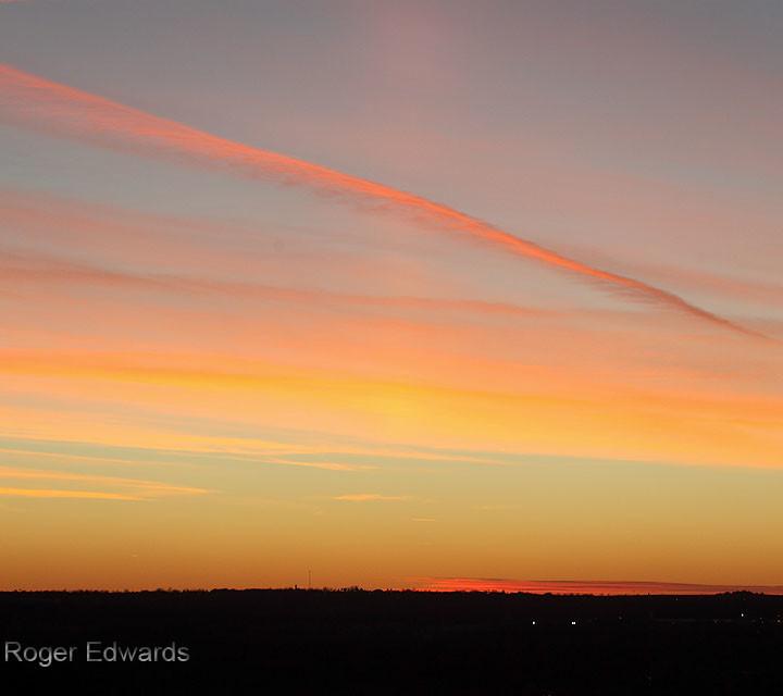 Sunset Cirrus, Contrail and Sun Pillar