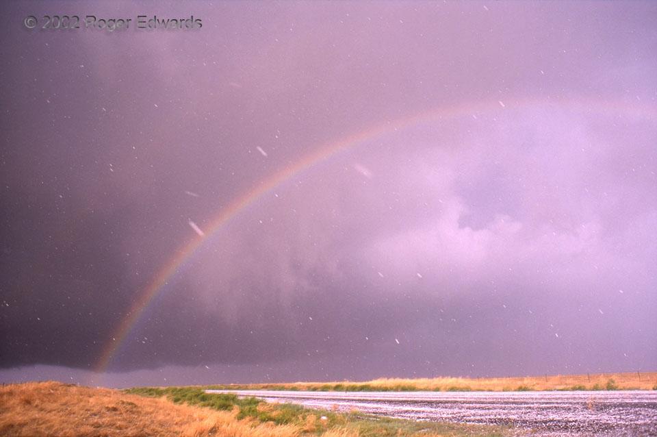 Rainbow through Falling Hail