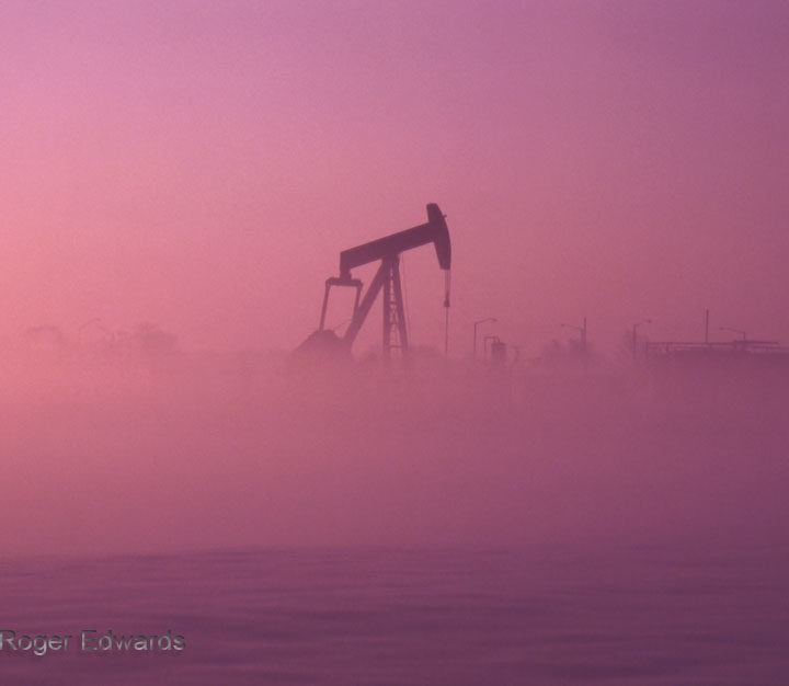 Snow Fog and Pumpjack at Sunrise