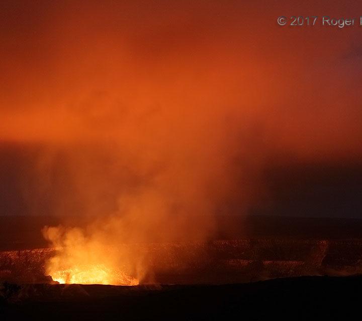 Lava Lake Glow on Low Clouds