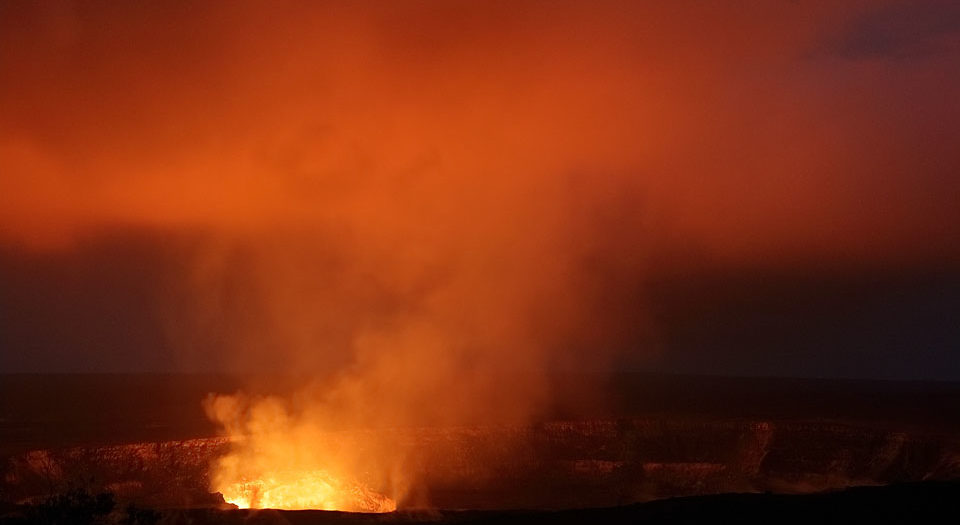 Lava Lake Glow on Low Clouds